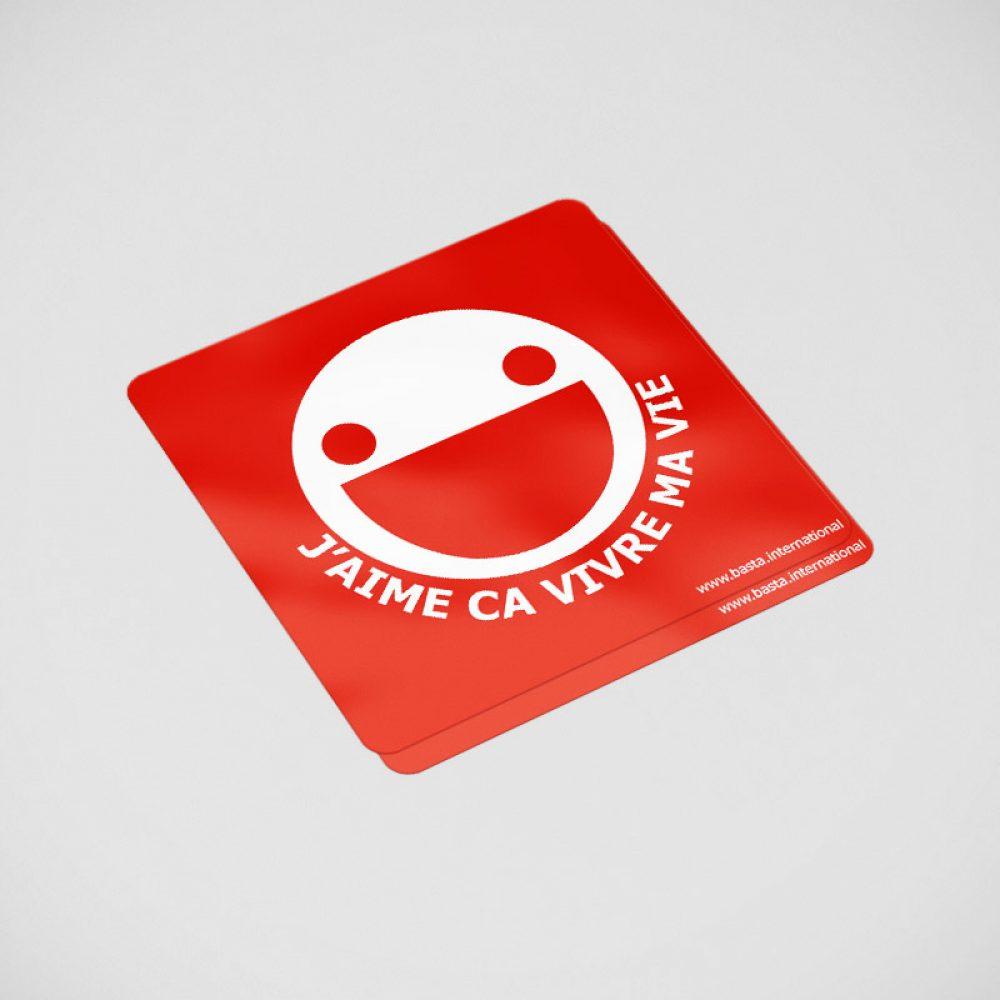 La boutique Basta International : sticker avec logo J'aime ça vivre ma vie